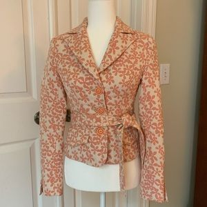 Arden B jacket in coral pink floral with tie waist